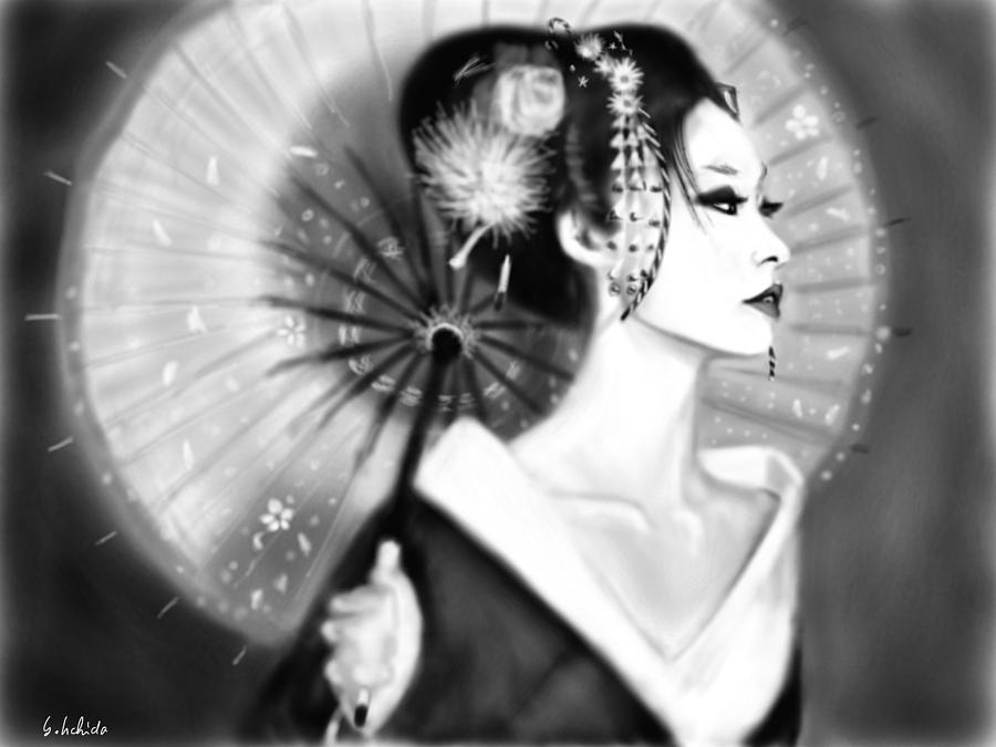 Ipad Painting - Geisha No.150 by Yoshiyuki Uchida