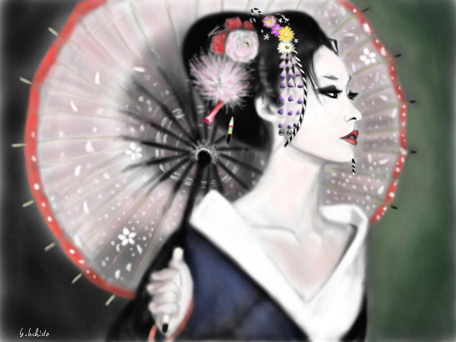 Ipad Painting - Geisha No.151 by Yoshiyuki Uchida