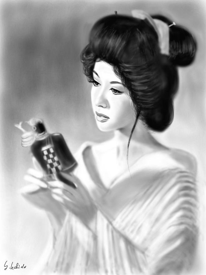 Ipad Painting - Geisha No.152 by Yoshiyuki Uchida