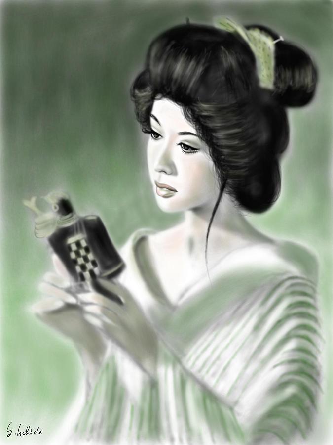 Ipad Painting - Geisha No.153 by Yoshiyuki Uchida
