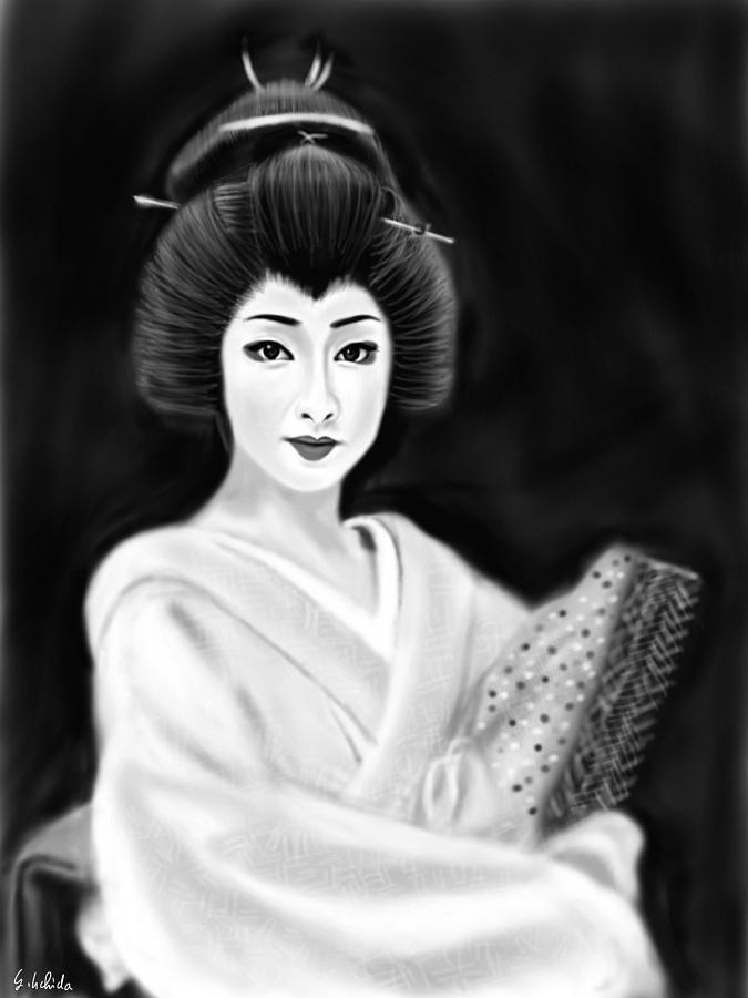 Ipad Painting - Geisha No.154 by Yoshiyuki Uchida