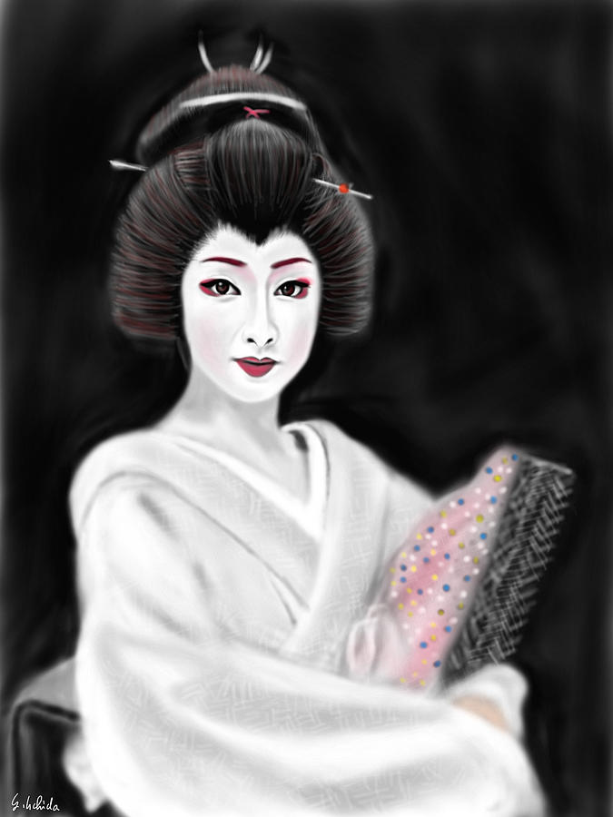 Ipad Painting - Geisha No.155 by Yoshiyuki Uchida