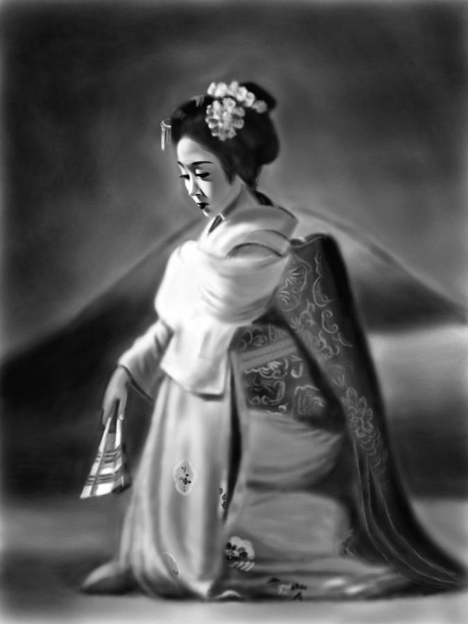 Ipad Painting - Geisha No.156 by Yoshiyuki Uchida