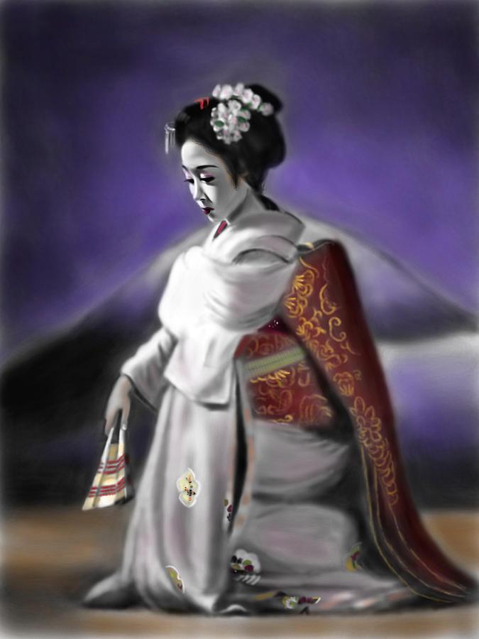 Ipad Painting - Geisha No.157 by Yoshiyuki Uchida