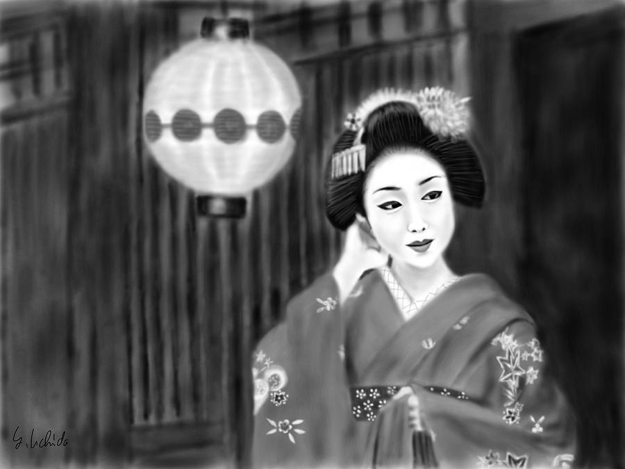 Ipad Painting - Geisha No.158 by Yoshiyuki Uchida