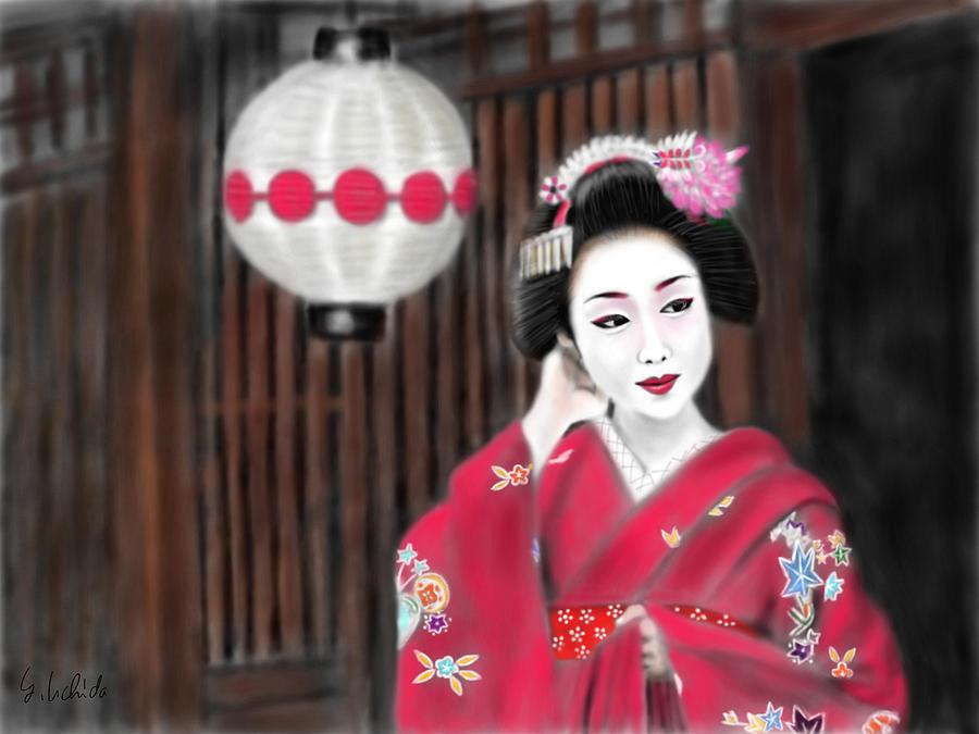 Ipad Painting - Geisha No.159 by Yoshiyuki Uchida