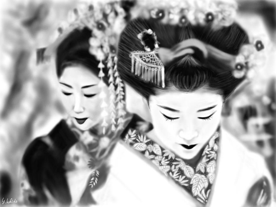 Ipad Painting - Geisha No.160 by Yoshiyuki Uchida