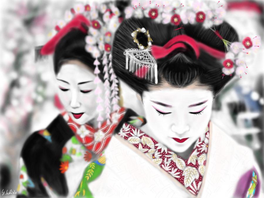 Ipad Painting - Geisha No.161 by Yoshiyuki Uchida