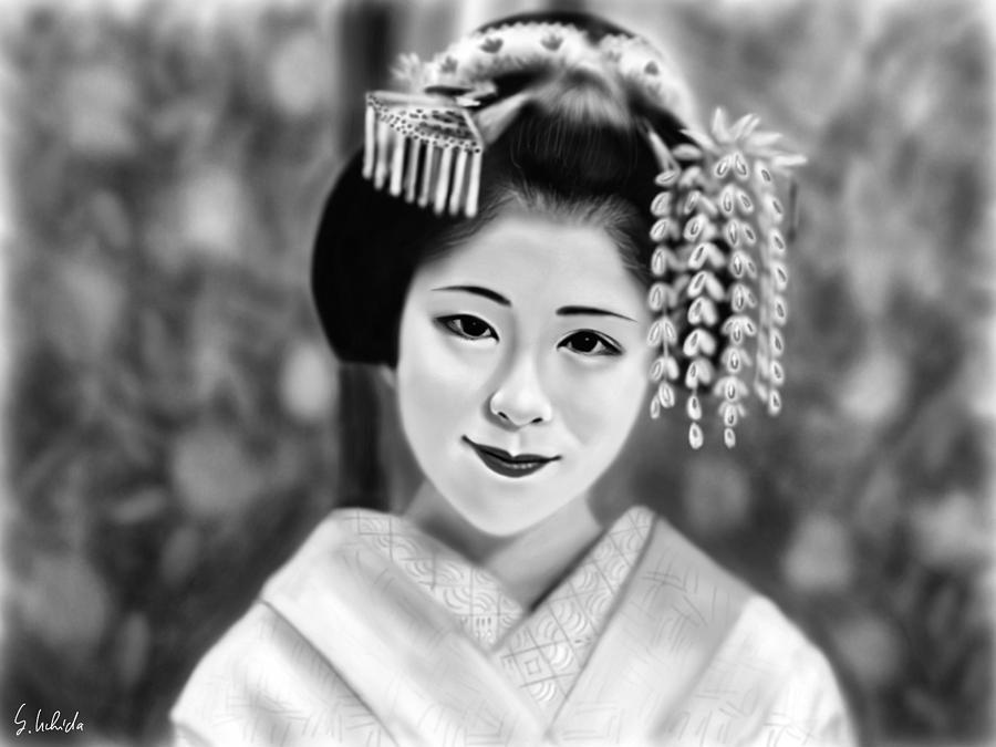 Ipad Painting - Geisha No.162 by Yoshiyuki Uchida
