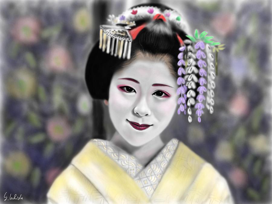 Ipad Painting - Geisha No.163 by Yoshiyuki Uchida