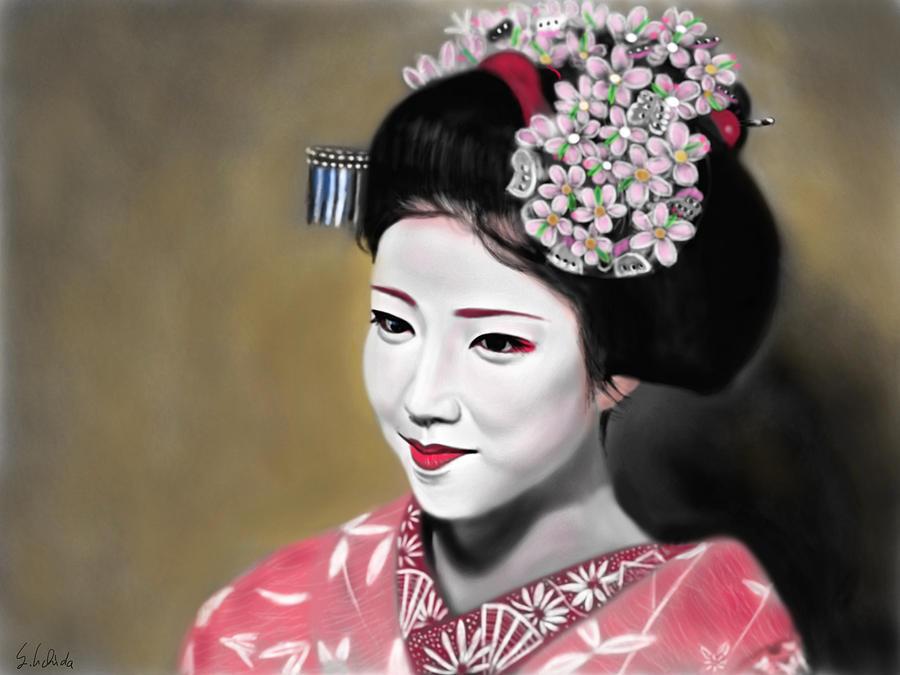 Ipad Painting - Geisha No.166 by Yoshiyuki Uchida