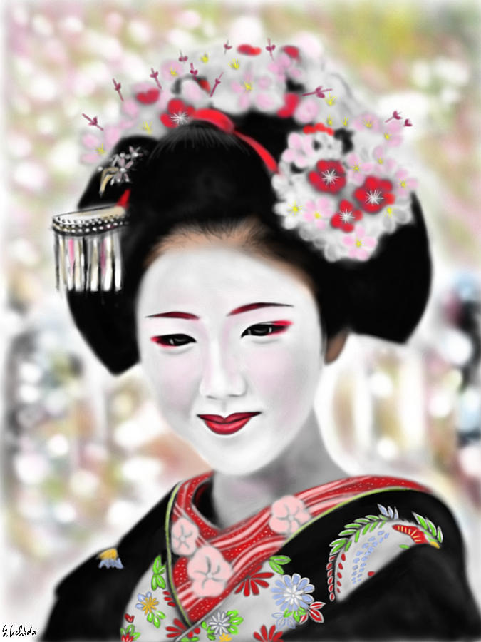 Ipad Painting - Geisha No.168 by Yoshiyuki Uchida