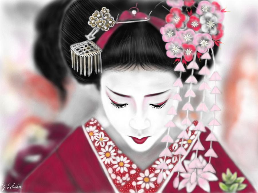 Ipad Painting - Geisha No.185 by Yoshiyuki Uchida