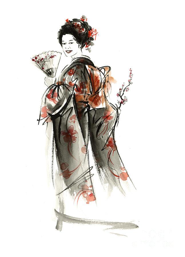 Geisha Painting Painting - Geisha Smile. by Mariusz Szmerdt