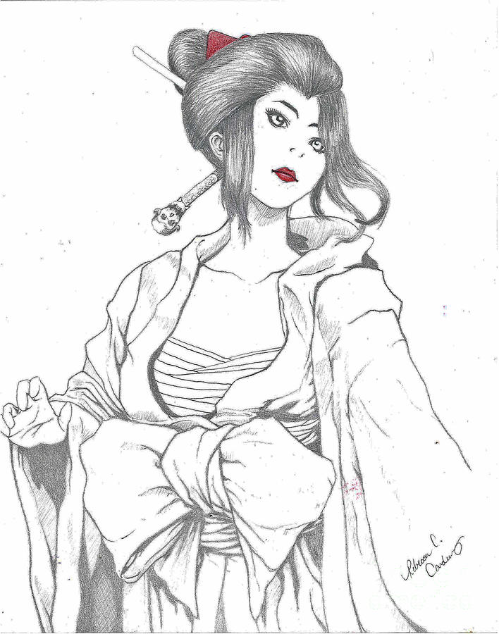 Asian Lady Drawing - Geisha Warrior by Rebecca Christine Cardenas