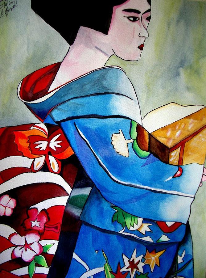 Geisha Painting - Geisha With Blue Kimono by Sacha Grossel