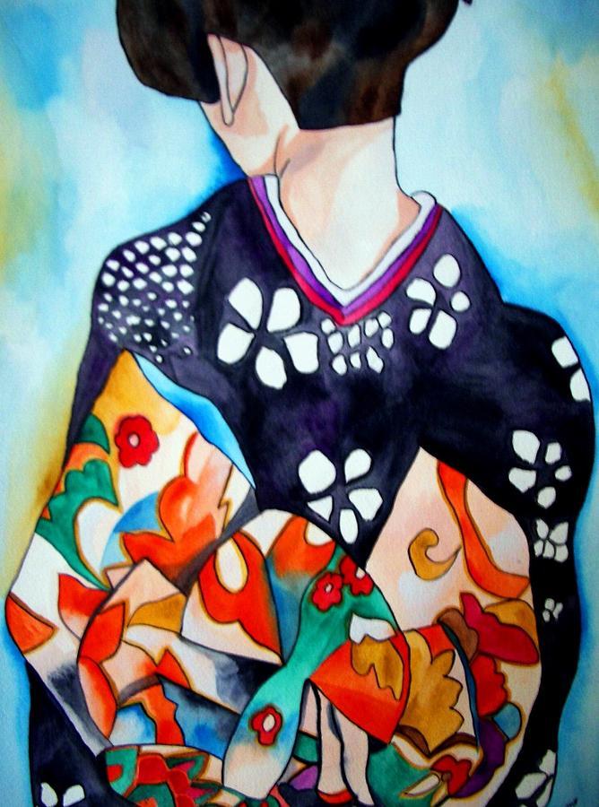 Geisha Painting - Geisha with colourful Obi by Sacha Grossel