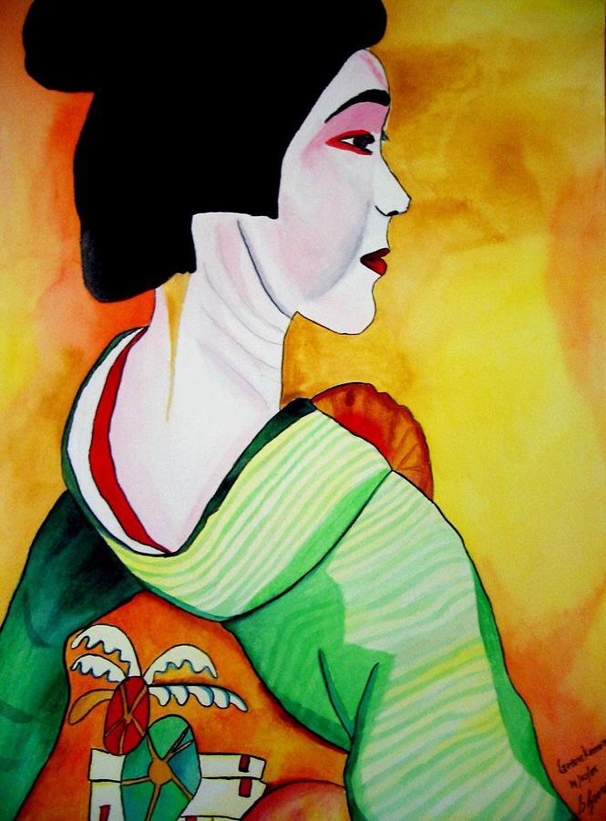 Geisha Painting - Geisha With Green Kimono by Sacha Grossel