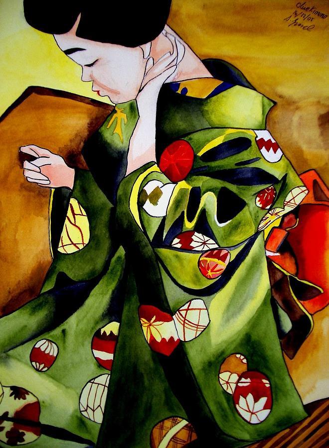 Geisha Painting - Geisha with Olive kimono by Sacha Grossel