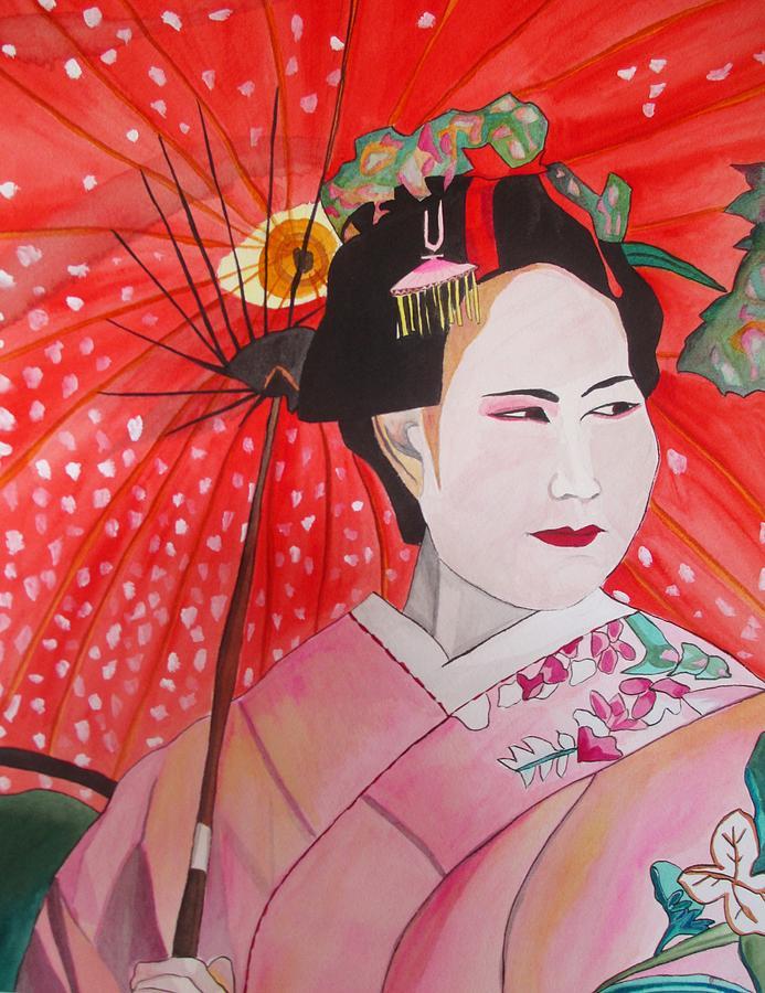 Geisha Painting - Geisha with Red Umbrella by Sacha Grossel