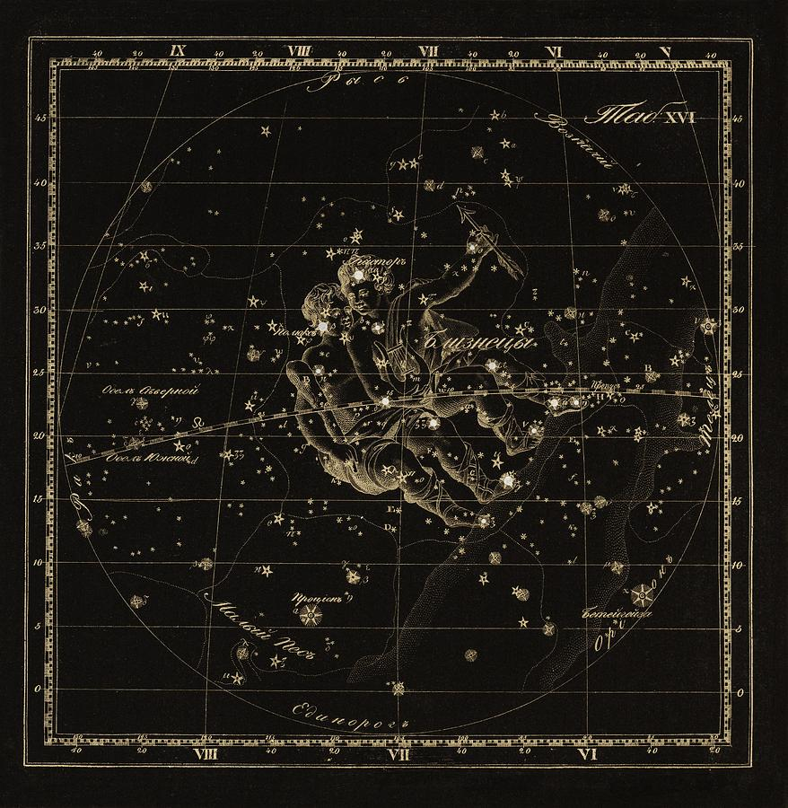 Gemini Photograph - Gemini Constellation, 1829 by Science Photo Library