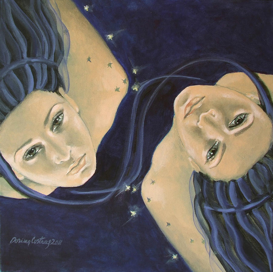 Constellation Painting - Gemini From Zodiac Series by Dorina  Costras