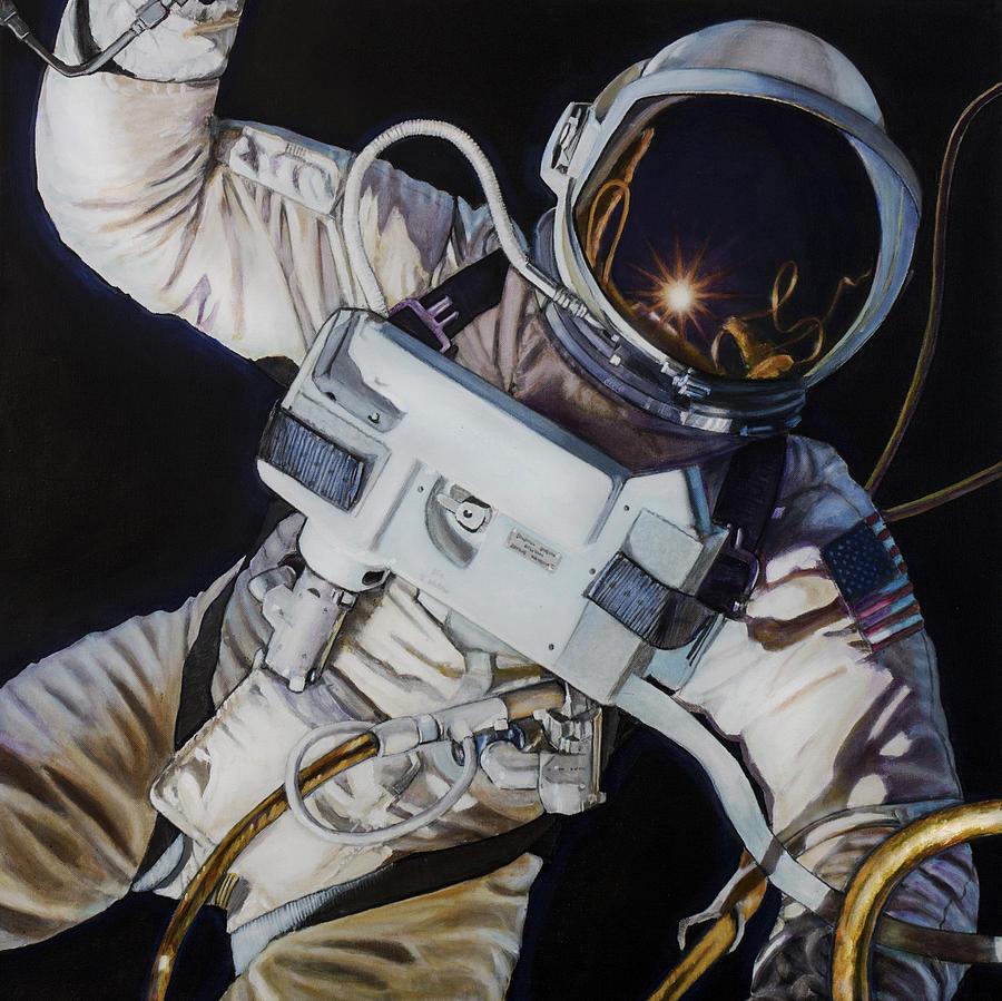 Nasa Painting - Gemini Iv- Ed White by Simon Kregar
