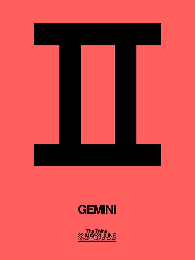 Gemini Digital Art - Gemini Zodiac Sign Black by Naxart Studio