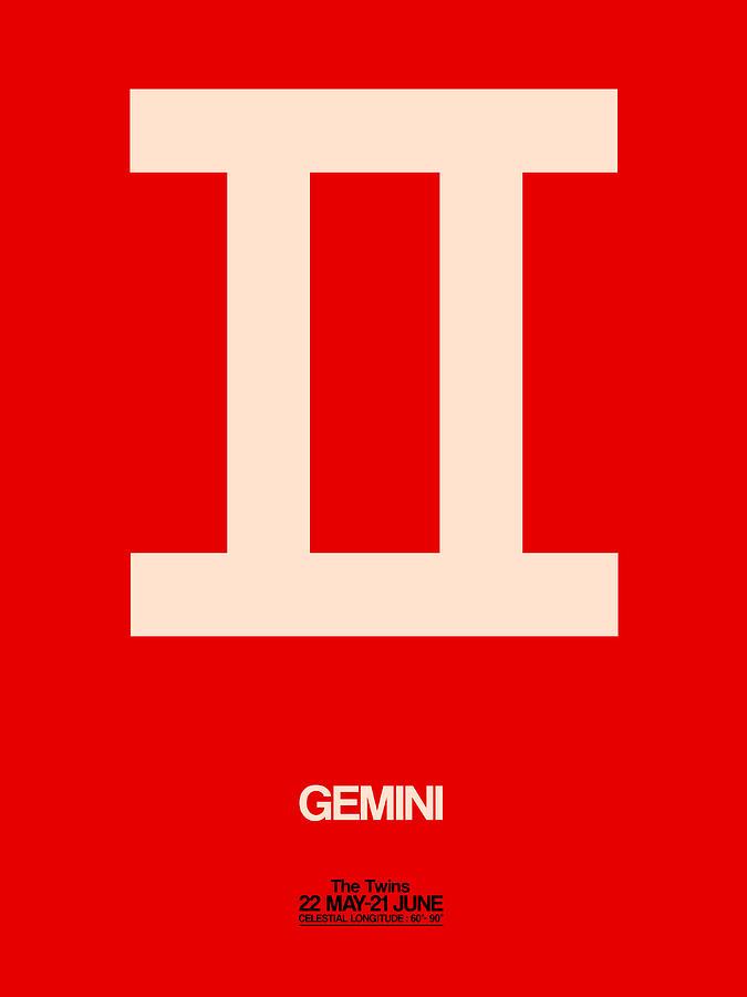 Gemini Digital Art - Gemini Zodiac Sign White On Red by Naxart Studio