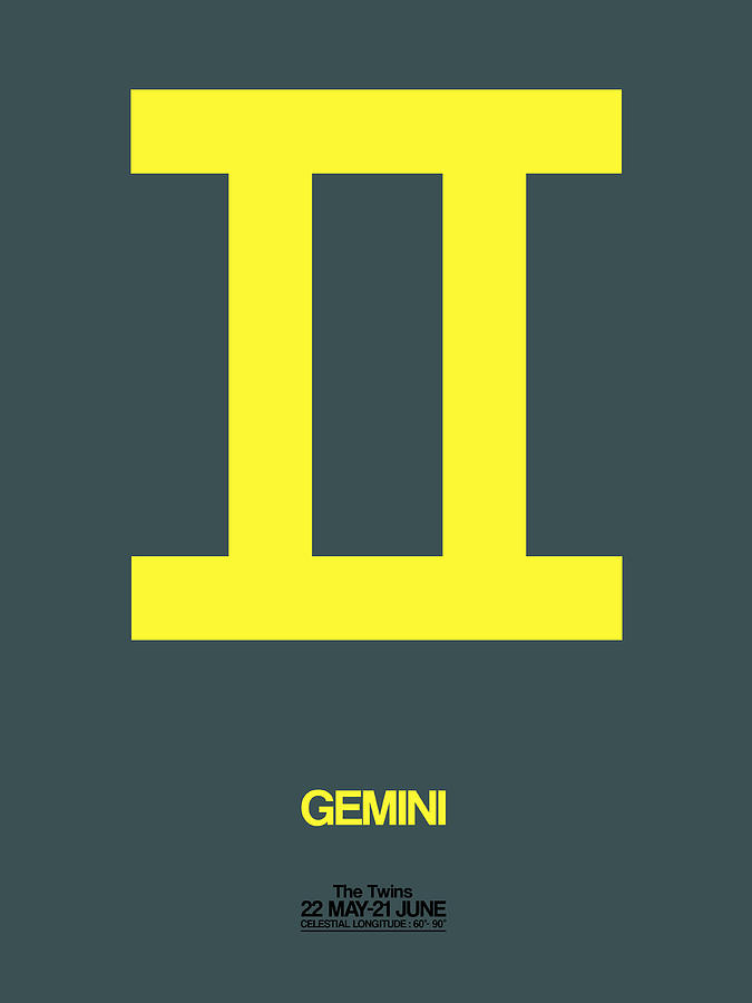 Gemini Digital Art - Gemini Zodiac Sign Yellow by Naxart Studio