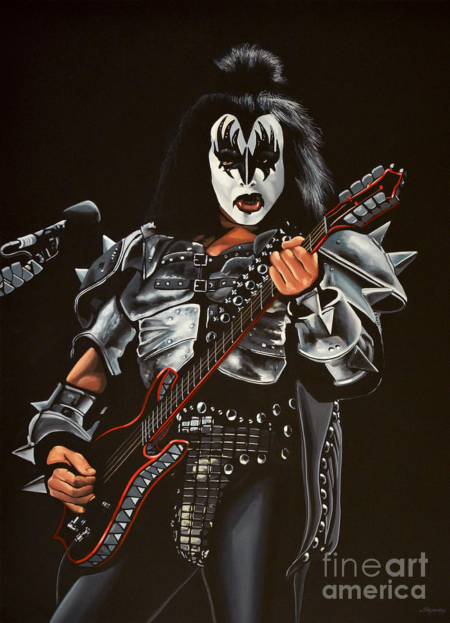 Kiss Painting - Gene Simmons Of Kiss by Paul Meijering
