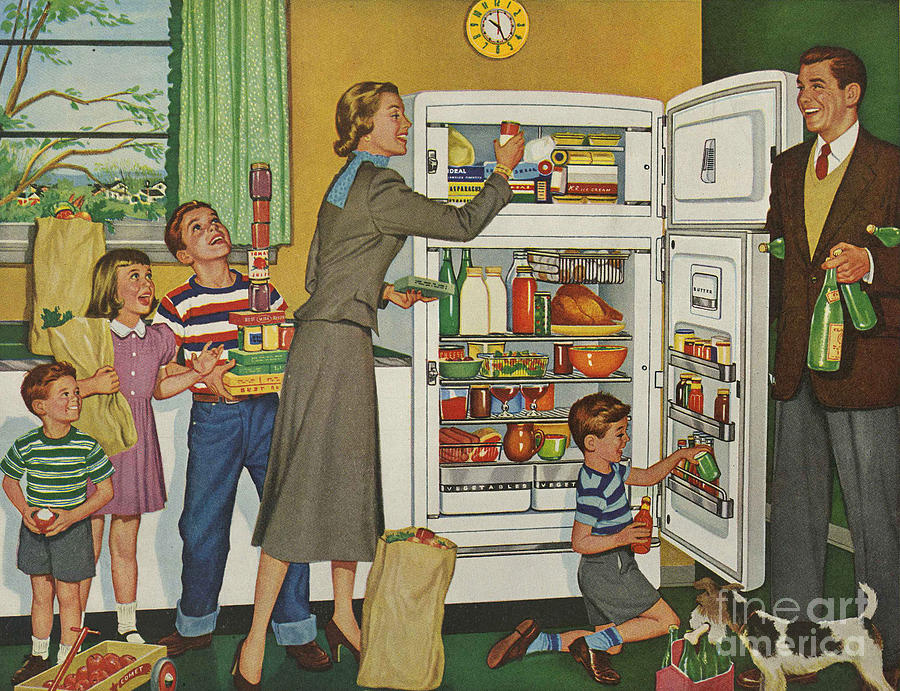1950s Drawing - General Electric 1952 1950s Usa Fridges by The Advertising Archives