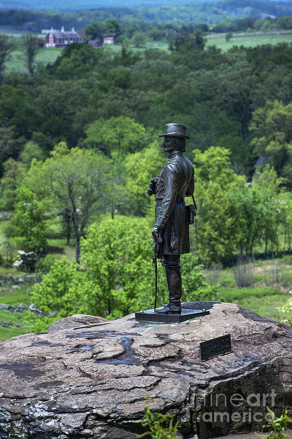 Adams County Photograph - General Kemble Warren At Little Round Top by John Greim