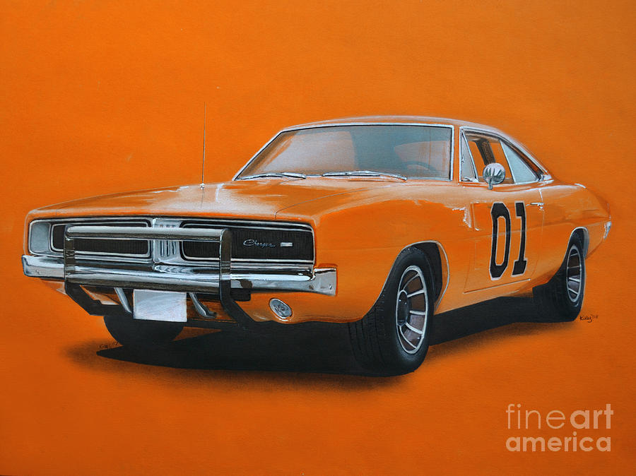 general lee dodge charger drawing by paul kuras. Black Bedroom Furniture Sets. Home Design Ideas