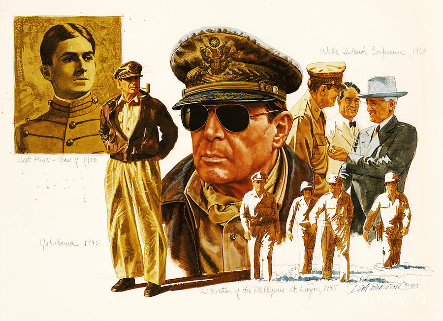 Portrait Painting - General Macarthur by Dick Bobnick
