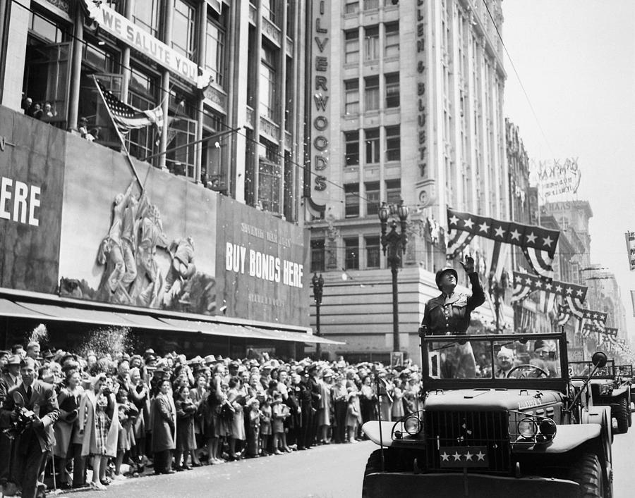 General Patton Photograph - General Patton Ticker Tape Parade by War Is Hell Store