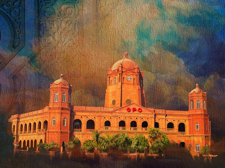 Pakistan Painting - General Post Office Lahore by Catf