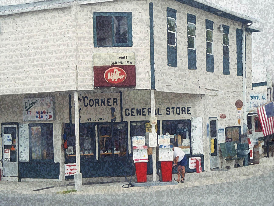 Gas Stations Painting - General Store by Dennis Buckman