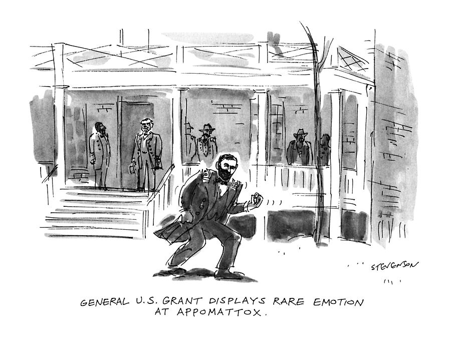 General U.s. Grant Displays Rare Emotion Drawing by James Stevenson