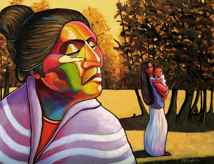 Woman Painting - Generations by Joe  Triano