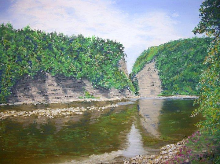 Pastel Pastel - Genessee River at Letchworth by Dan Haley