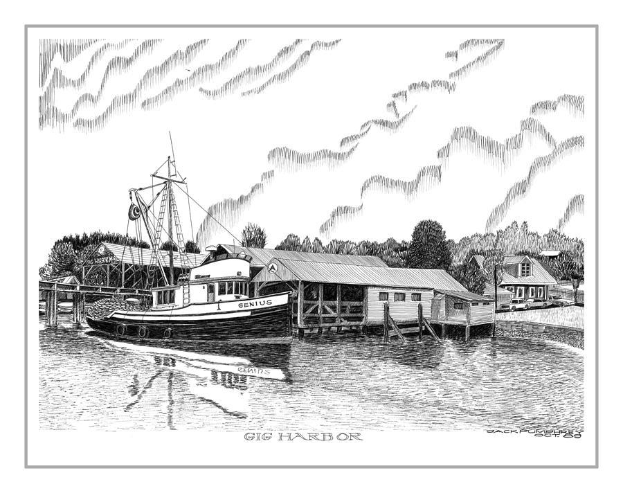 Fishing Trawler Genius Formaly Of Gig Harbor Drawing