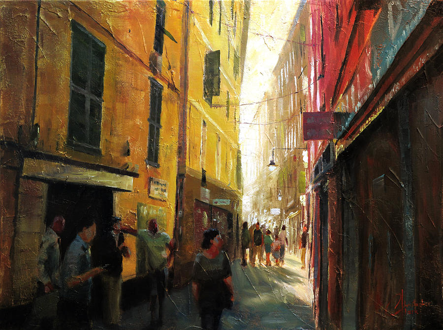 Christopher Painting - Genova Italy Winding Alleyway by Christopher Clark