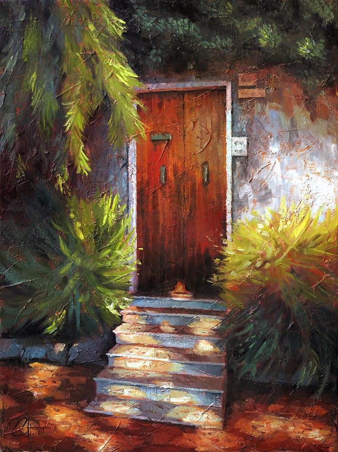 Christopher Painting - Genova Itay The Wooden Door by Christopher Clark