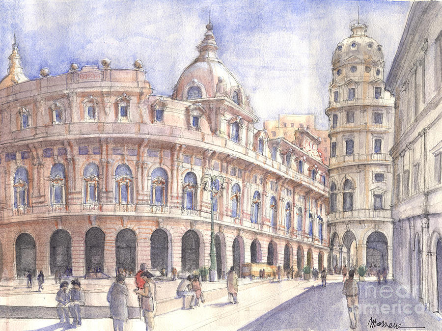 Genova Piazza De Ferrari Painting by Luca Massone