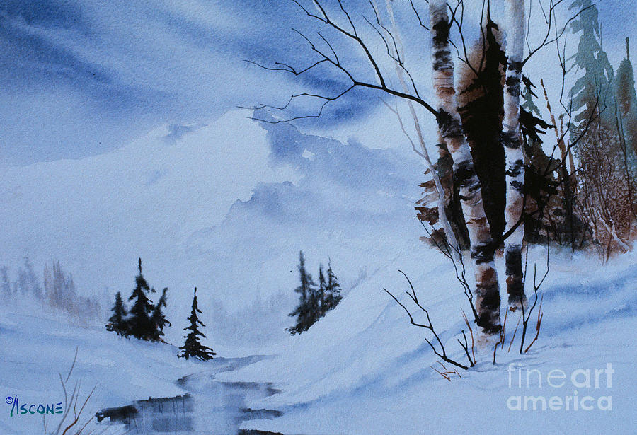 Birch Painting - Gentle Mountains by Teresa Ascone