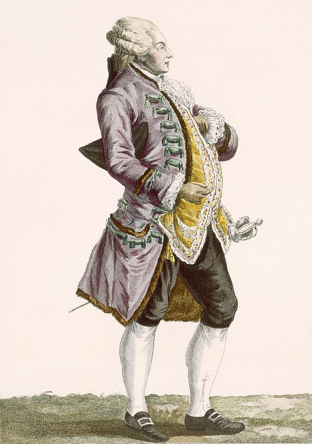 Clothing Drawing - Gentleman In Cullotes And Tailed by Pierre Thomas Le Clerc