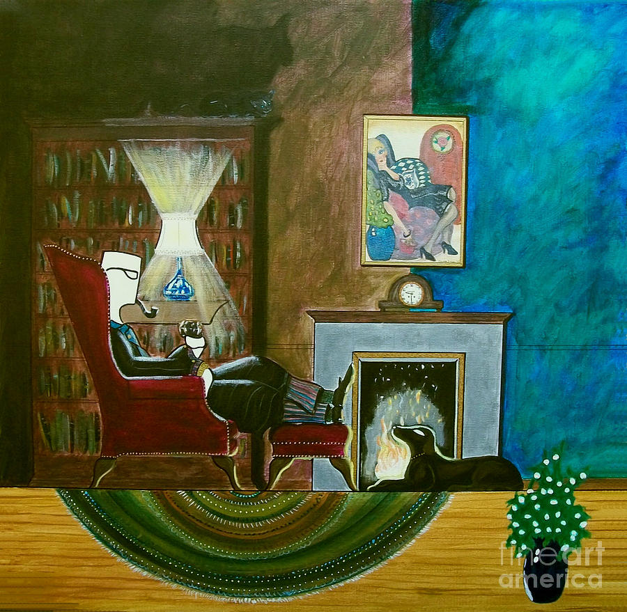 Acrylic Painting - Gentleman Sitting In Wingback Chair Enjoying A Brandy by John Lyes