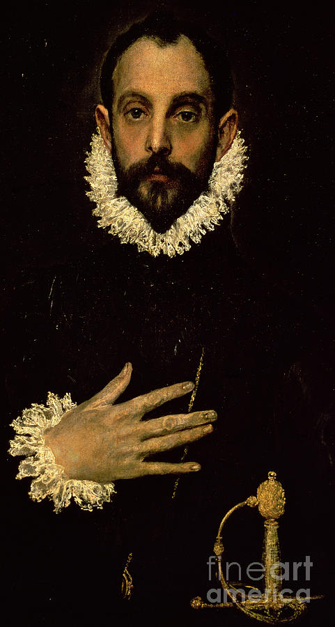Sword; Ruff; Male; Portrait; Half Length Painting - Gentleman With His Hand On His Chest by El Greco Domenico Theotocopuli