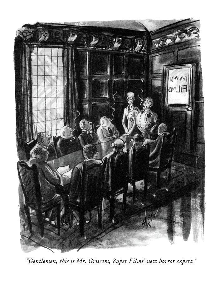 1933 Drawing - Gentlemen, This Is Mr. Griscom, Super Films New by Barbara Shermund